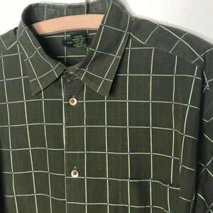Men's olive green windowpane casual button down XL